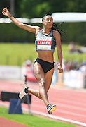 Nafi Thiam aka Nafissatou Thiam (BEL) jumps 21-10¾ (6.67m) in the heptathlon long jump during the DecaStar meeting, Saturday, June 23, 2019, in Talence, France. Thiam won with 6,819 points. (Jiro Mochizuki/Image of Sport via AP)