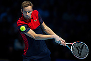 Daniil Medvedev of Russia in action during the Nitto ATP Finals at the O2 Arena, London, United Kingdom on 15 November 2019.