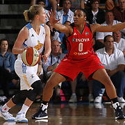 Chicago Sky Guard Courtney Vandersloot (22), right, looks for the open man as Washington Mystics Guard A'dia Mathies (0) defends during the second half of an WNBA pre season basketball game between the Chicago Sky and the Washington Mystics Tuesday, May. 13, 2014 at The Bob Carpenter Sports Convocation Center in Newark, DEL