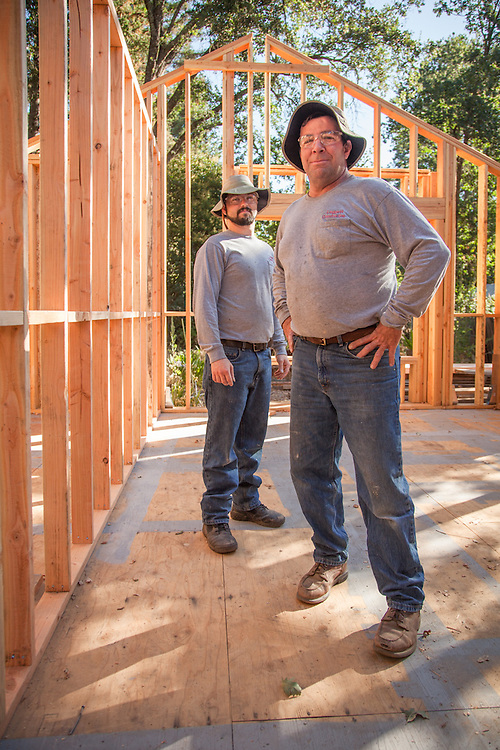 Hal Leggett and his apprentice, Chris Enos, at the site of a home remodel on Myrtle Street in Calistoga
