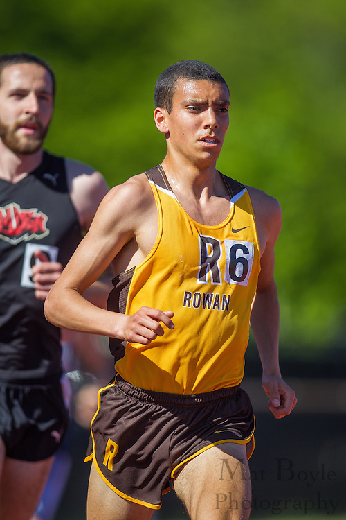 Rowan University junior Jeff Tauriello competes in men's 10,000 meters at the NJAC Track and Field Championships at Richard Wacker Stadium on the campus of  Rowan University  in Glassboro, NJ on Saturday May 4, 2013. (photo / Mat Boyle)