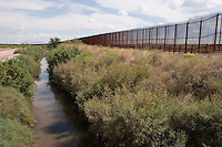 Border Fence on Rio Grande near Fabens, TX Border Wall.