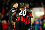 AFC Bournemouth forward Benik Afobe is congratulated after the final whisle by AFC Bournemouth forward Max Gradel after the teams 2-0 win over Southampton in the Barclays Premier League match between Bournemouth and Southampton at the Goldsands Stadium, Bournemouth, England on 1 March 2016. Photo by Graham Hunt.