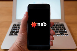 Using iPhone smart phone to display website logo of NAB, National Australia Bank