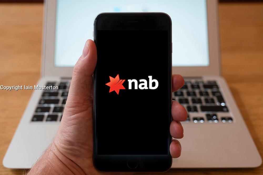Using iPhone smart phone to display website logo of NAB, National Australia Bank