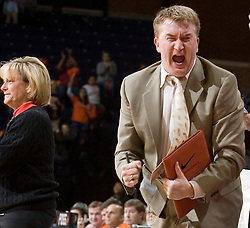 Virginia Cavaliers Women's Basketball assistant coach Jeff House reacts to a second half three point play against the Duke Blue Devils Women's Basketball team.  The University of Virginia Cavaliers lost to the #1 ranked Duke University Blue Devils 76-61 at the John Paul Jones Arena in Charlottesville, VA on February 2, 2007.