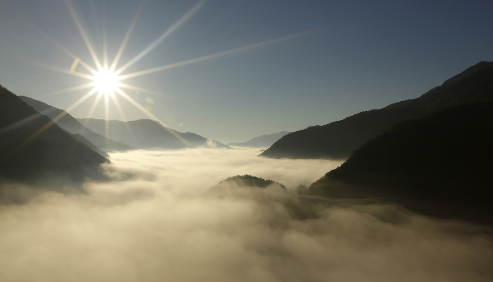 Morning mist over the Tara river canyon, Montenegro.