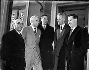 """01/02/1953<br /> 02/01/1953<br /> 01 February 1953<br /> Cork Athletic Football Club directors with Horatio """"Raich"""" Carter (2nd from left).  J.J. O'Sullivan, Vice chairman;  Mr. Carter; D. Fitzgibbon, Director; K. Fitzgibbon, director and D. Forde, Secretary."""