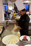 Malaysia, Penang. E&O - the Eastern & Oriental Hotel. Breakfast buffet at Sarkies restaurant. Roti chef.