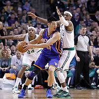 04 March 2012: Boston Celtics point guard Rajon Rondo (9) defends on New York Knicks point guard Jeremy Lin (17) during the first half of Boston Celtics vs the New York Knicks at the TD Garden, Boston, Massachusetts, USA.