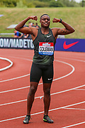 Christian COLEMAN of the United States, winner of the Men's 100m during the Muller Grand Prix 2018 at Alexander Stadium, Birmingham, United Kingdom on 18 August 2018. Picture by Toyin Oshodi.