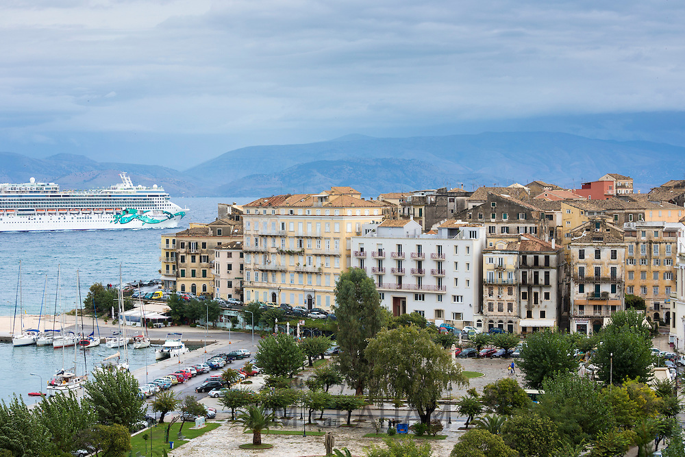 Kerkyra, Corfu Town and harbour with Norwegian Jade cruise liner ship in Ionian Sea, Corfu, Ionian Islands, Greece