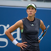 2019 US Open Tennis Tournament- Day Two.  Garbine Muguruza of Spain reacts during her match against Alison Riske of the United States in the Women's Singles Round One match on Grandstand Stadium at the 2019 US Open Tennis Tournament at the USTA Billie Jean King National Tennis Center on August 27th, 2019 in Flushing, Queens, New York City.  (Photo by Tim Clayton/Corbis via Getty Images)