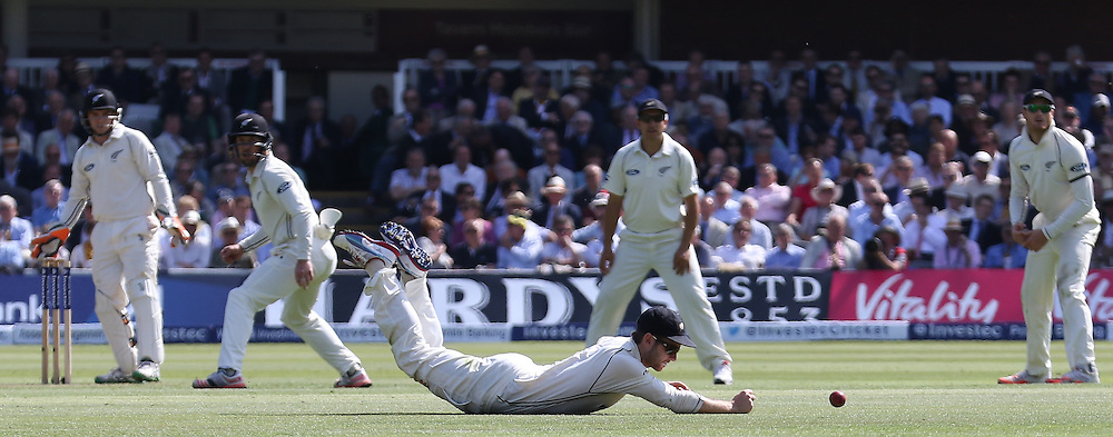 New Zealand fielder just misses a catch during the first day of the Investec 1st Test  match between England and New Zealand at Lord's Cricket Ground, St John's Wood, United Kingdom on 21 May 2015. Photo by Ellie  Hoad.