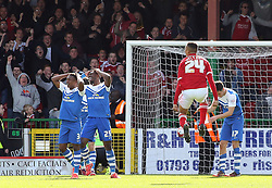 Swindon Town's Jermaine Hylton celebrates scoring his sides first goal - Photo mandatory by-line: Joe Dent/JMP - Mobile: 07966 386802 - 11/04/2015 - SPORT - Football - Swindon - County Ground - Swindon Town v Peterborough United - Sky Bet League One