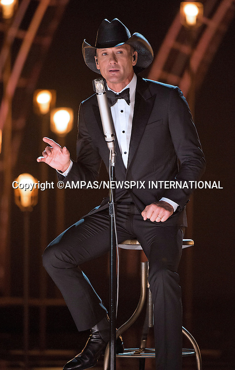 22.02.2015; Hollywood, California: 87TH OSCARS - TIM MCGRAW<br /> performs during the Annual Academy Awards Live Telecast, Dolby Theatre, Hollywood.<br /> Mandatory Photo Credit: NEWSPIX INTERNATIONAL<br /> <br />               **ALL FEES PAYABLE TO: &quot;NEWSPIX INTERNATIONAL&quot;**<br /> <br /> PHOTO CREDIT MANDATORY!!: NEWSPIX INTERNATIONAL(Failure to credit will incur a surcharge of 100% of reproduction fees)<br /> <br /> IMMEDIATE CONFIRMATION OF USAGE REQUIRED:<br /> Newspix International, 31 Chinnery Hill, Bishop's Stortford, ENGLAND CM23 3PS<br /> Tel:+441279 324672  ; Fax: +441279656877<br /> Mobile:  0777568 1153<br /> e-mail: info@newspixinternational.co.uk