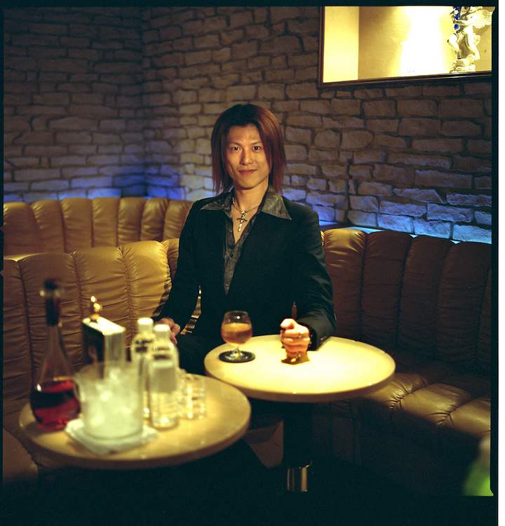 """Kouki Himuro, a gal-O and host at Club Hearts.  Host bars cater to women  who pay to spent time with young men, Ikebukuro, Tokyo, Japan.  The girls of this style are called, """"ko-gals"""" and the boys are """"gal-O"""".  The """"O"""" is added for """"otoko-no-hito""""  which means, """"man"""", in Japanese."""