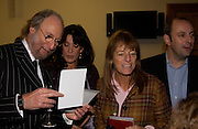 Ed Victor, Gail Rebuck and Ruth Rodgers, 'Feast Food that celebrates Life' by Nigella Lawson- book launch. Cadogan Hall, Sloane Terace. 11 October 2004. ONE TIME USE ONLY - DO NOT ARCHIVE  © Copyright Photograph by Dafydd Jones 66 Stockwell Park Rd. London SW9 0DA Tel 020 7733 0108 www.dafjones.com