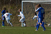 CVU's Joe Parento (center) celebrates after scoring a goal during the boys semifinal soccer game between Mount Anthony and Champlain Valley Union at CVU high school on Tuesday afternoon October 27, 2015 in Hinesburg. (BRIAN JENKINS/ for the FREE PRESS)