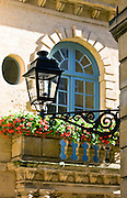 Traditional window in Rue Fenelon in popular picturesque Sarlat in the Dordogne, France