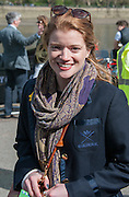 London, Great Britain, CUWBC, Old Blue Katie APFELBAUM., enjoying the sunshine, before the race.The Newton Women's Boat race and the reserve races Mortlake. ENGLAND. <br /> <br /> <br /> 17:21:48  Saturday  11/04/2015<br /> <br /> [Mandatory Credit; Intersport-images]
