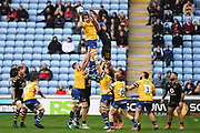 Bath lock Charlie Ewals (5) wins a line out during the Gallagher Premiership Rugby match between Wasps and Bath Rugby at the Ricoh Arena, Coventry, England on 2 November 2019.