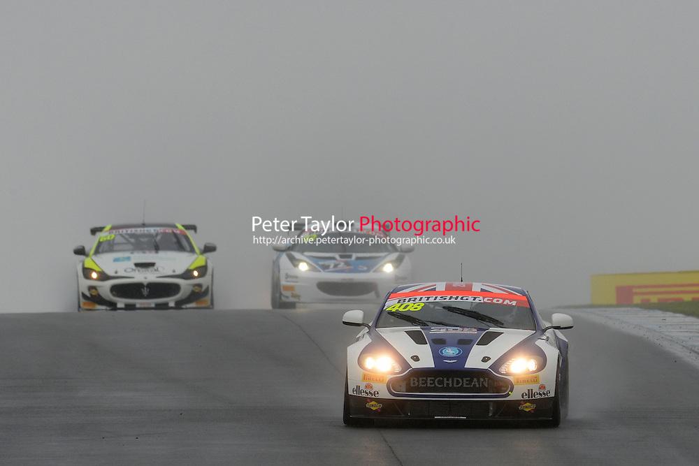 Paul Hollywood / Jamie Chadwick #408 Beechdean AMR Aston Martin V8 Vantage GT4  Aston Martin 4.7L V8. British GT Championship at Donington Park, Melbourne, Leicestershire, United Kingdom. September 10 2016. World Copyright Peter Taylor/PSP.