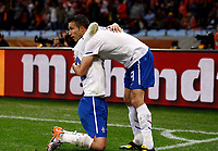 Cape Town  World Cup 2010  Holland v Cameroon (2-1) Match 44 24/06/10<br /> Robin van Persie (NED)  celebrates first goal with Rafael van der Vaart<br /> Photo Roger Parker Fotosports International