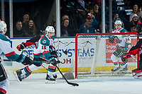 KELOWNA, CANADA - MARCH 14:  Kole Lind #16 of the Kelowna Rockets shoots the puck at the net of the Prince George Cougars on March 14, 2018 at Prospera Place in Kelowna, British Columbia, Canada.  (Photo by Marissa Baecker/Shoot the Breeze)  *** Local Caption ***