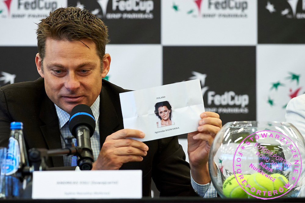 Swiss ITF umpire Andreas Egli during official draw one day before the Fed Cup / World Group 1st round tennis match between Poland and Russia at Holiday Inn on February 6, 2015 in Cracow, Poland.<br /> <br /> Poland, Cracow, February 6, 2015<br /> <br /> Picture also available in RAW (NEF) or TIFF format on special request.<br /> <br /> For editorial use only. Any commercial or promotional use requires permission.<br /> <br /> Adam Nurkiewicz declares that he has no rights to the image of people at the photographs of his authorship.<br /> <br /> Mandatory credit:<br /> Photo by &copy; Adam Nurkiewicz / Mediasport