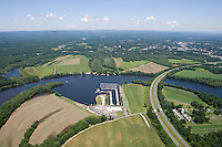 Aerial of Oxbow and Oxbow Marina on Connecticut Rivernear Holyoke Ridge and Mount Tom, Northampton, MA