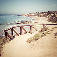 Crystal Cove overlook picture with a trail railing. Crystal Cove State Park is located along the Pacific Ocean in Laguna Beach, Orange County, California. Image Copyright © Paul Velgos All Rights Reserved.