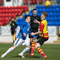 St Johnstone v Partick Thistle…Reserves Match   McDiarmid Park   18.03.19<br />Danny Swanson dinks the ball over Andy McCarthy<br />Picture by Graeme Hart.<br />Copyright Perthshire Picture Agency<br />Tel: 01738 623350  Mobile: 07990 594431