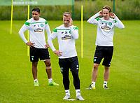 08/07/15<br /> CELTIC TRAINING<br /> LENNOXTOWN<br /> (L/R) Celtic's Emilio Izaguirre, Leigh Griffiths, Stefan Johansen remain focused at training