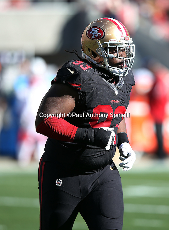San Francisco 49ers nose tackle Ian Williams (93) jogs off the field during the 2015 week 12 regular season NFL football game against the Arizona Cardinals on Sunday, Nov. 29, 2015 in Santa Clara, Calif. The Cardinals won the game 19-13. (©Paul Anthony Spinelli)