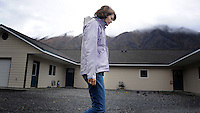 COOPER LANDING, AK- October 2:  Surrounded by misty covered mountains, Senator Murkowowski walks through new senior housing built in picturesque Cooper Landing... Senator Lisa Murkowski (R-AK) campaigns as a write-in candidate to be re elected to Alaska's Senate seat, in Cooper Landing, Alaska, Friday, October 1, 2010. Joe Miller narrowly defeated incumbent Senator Lisa Murkowski in the republican primary. (Melina Mara/The Washington Post)