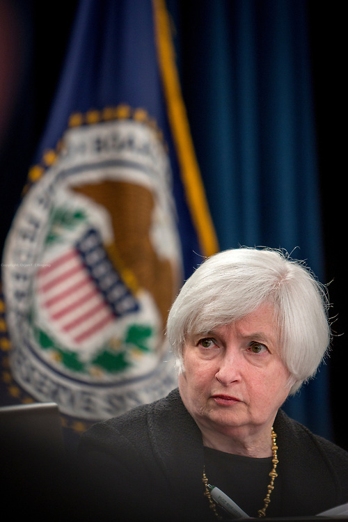 Chair of the Board of Governors of the Federal Reserve Janet Yellen at a press conference after a meeting in the Federal Open Market Committee.