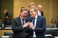 DEU, Deutschland, Germany, Berlin, 02.03.2018: Thüringens Ministerpräsident Bodo Ramelow (Die Linke) und Schleswig-Holsteins Ministerpräsident Daniel Günther (CDU) vor einer Sitzung im Bundesrat.