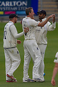 Rikki Clarke (Warwickshire County Cricket Club)  celebrates after taking the wicket of Keaton Jennings (Durham County Cricket Club) during the LV County Championship Div 1 match between Durham County Cricket Club and Warwickshire County Cricket Club at the Emirates Durham ICG Ground, Chester-le-Street, United Kingdom on 14 July 2015. Photo by George Ledger.