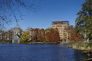 The Harlem Meer with the Dana nature center in Central Park, New York City.
