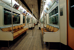 UK ENGLAND LONDON NOV98 - Interior of District Line Train.  ..The London Underground is a rapid transit system serving a large part of Greater London and neighbouring areas of Essex, Hertfordshire and Buckinghamshire in the UK. The Underground has 270 stations and about 400 km of track, making it the longest metro system in the world by route length; it also has one of the highest number of stations and transports over three million passengers daily...jre/Photo by Jiri Rezac..© Jiri Rezac 1998