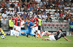 NICE, Aug. 23, 2017  Pierre Lees-Melou (R) of Nice competes with Piotr Zielinski (C) of Napoli during a Champions League playoff round, second leg soccer match between Nice and Napoli in Nice, France on Aug. 22, 2017. Napoli won 2-0. (Credit Image: © Serge Haouzi/Xinhua via ZUMA Wire)