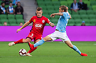 MELBOURNE, AUSTRALIA - APRIL 13: Melbourne City midfielder Luke Brattan (26) competes with Adelaide United defender Scott Galloway (3) during round 25 of the Hyundai A-League soccer match between Melbourne City FC and Adelaide United on April 13, 2019 at AAMI Park in Melbourne, Australia. (Photo by Speed Media/Icon Sportswire)