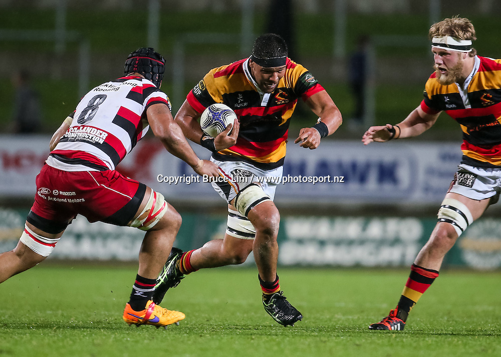 Waikato flanker Whetu Douglas in action during the ITM Cup rugby match - Waikato v Counties at Waikato Stadium on Friday 2 October 2015.  <br /> <br /> Copyright Photo:  Bruce Lim / www.photosport.nz