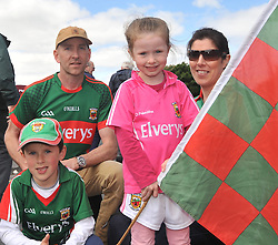 Padraig and Gretta Flanagan with their kids Darragh and Sive from Brickens, Claremorris at Pearse Stadium for the Connacht Championship semi-final.<br /> Pic Conor McKeown