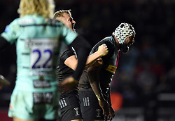 Alex Dombrandt and Tevita Cavubati of Harlequins celebrate a match-winning penalty - Mandatory byline: Patrick Khachfe/JMP - 07966 386802 - 01/12/2019 - RUGBY UNION - The Twickenham Stoop - London, England - Harlequins v Gloucester Rugby - Gallagher Premiership