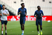Chelsea forward Tammy Abraham (9) and Chelsea defender Fikayo Tomori (29) during the Chelsea Training session ahead of the 2019 UEFA Super Cup Final between Liverpool FC and Chelsea FC at BJK Vodafone Park, Istanbul, Turkey on 13 August 2019.