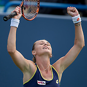 August 21, 2014, New Haven, CT:<br /> Magdalena Rybarikova reacts after defeating Alison Riske on day seven of the 2014 Connecticut Open at the Yale University Tennis Center in New Haven, Connecticut Thursday, August 21, 2014.<br /> (Photo by Billie Weiss/Connecticut Open)
