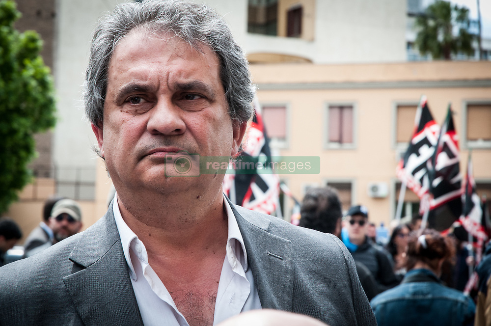 May 13, 2019 - Rome, italy, Italy - Roberto Fiore is an Italian politician and a founding member of the European movement of third position that is against both communism and capitalism. He is the leader of the Italian party Forza Nuova. during the demonstration of Forza Nuova against the intervention of Mimmo Lucano at the La Sapienza Universityon May 13, 2019., 2019 in Rome, (Credit Image: © Andrea Ronchini/NurPhoto via ZUMA Press)