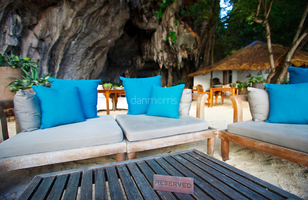Reserved table at Phra Nang Beach, Rayavadee resort, Krabi Thailand